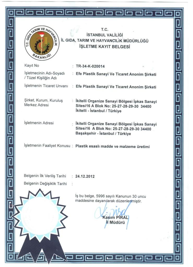 gıda işletme kayıt belgesi